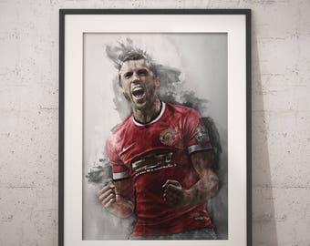 Michael Carrick print  Michael Carrick Manchester United wall art home decor