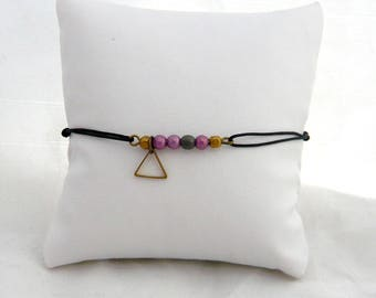 purple triangle and pearl bracelet