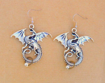 Steampunk dragon silver dangle earrings