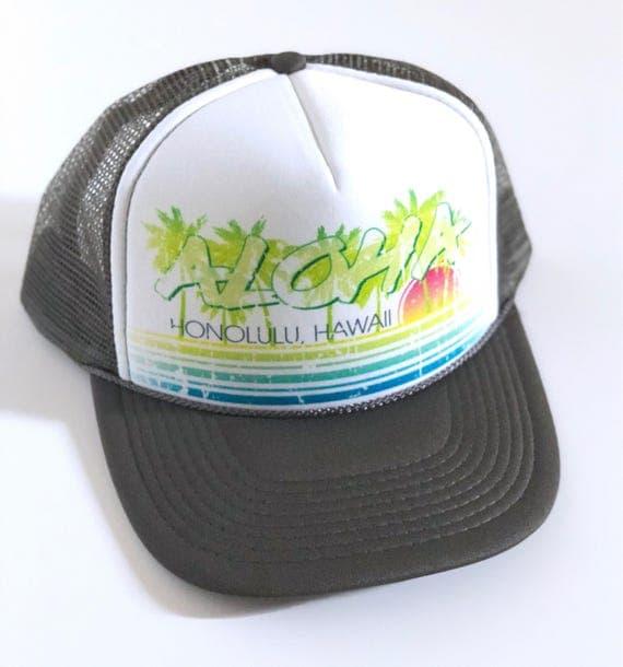 Vintage Aloha Trucker Hat charcoal grey Screen Print| Aloha Hat| Hawaii Hat| 80s Hat| ombre | Beach Hat| Vintage style| grey Hat