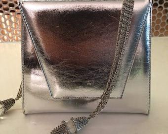 Vintage 60's Metallic Silver Evening Bag