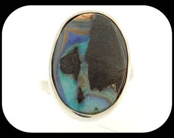 Brand New 18.37CT Boulder Opal 925 Sterling Silver RING
