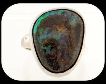 New 18.56CT Australian Boulder Opal 925 Sterling Silver Solitaire RING