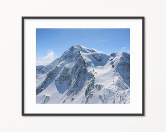 Snowy Mountains Print. French Alps, Aiguille Rouge 3200 M. Travel Photography. Skiing in France. Mountain photography. Winter Photo.