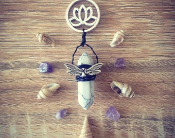 Wire wrapped Howlite w/ stainless lotus pendant necklace