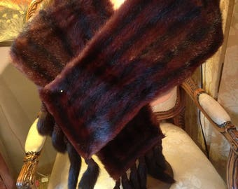 Beautiful 30's mahogany real fur shrug/stole/shoulder wrap
