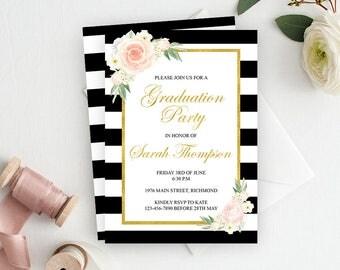 Graduation Invitation, Graduation Party Invitation, Graduation Invite, College Gradutation Invitation, Printable Invitation, Black Gold Pink
