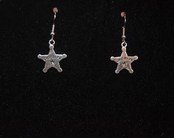 TWD Fan Sheriff Badge Earrings Rick Grimes , Carl Grimes The Walking Dead Sheriff Star Jewelry