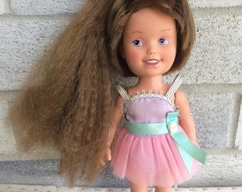 Vintage 1987 Dolly Surprise, Vintage Playskool Dolly Surprise, Growing hair doll, vintage playskool doll