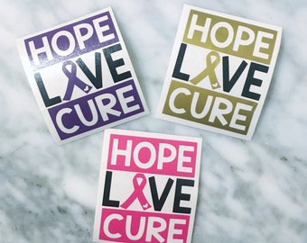 Hope Love Cure, Cancer Decal, Cancer Awareness Decal, Cancer Support Decal, Cancer Awareness, Awareness Ribbon Decal, Disease Awareness
