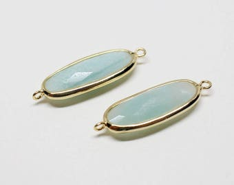 P0668/Anti-Tarnished Gold Plating Over Brass+Amazonite Gemstone/Oval Amazonite Gemstone Pendant Connector/26x8.5mm/2pcs