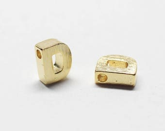 P0721/Anti-Tarnished Gold Plating Over Brass /Brushed Mini Alphabet Charm/4.8x6.5mm/2pcs