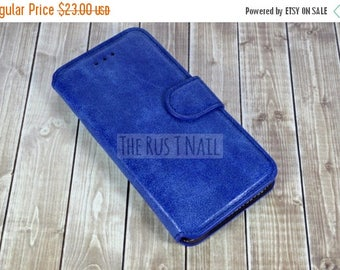 ON SALE FREE Screen Protector - Blue iPhone 6s Wallet Case - Genuine Leather