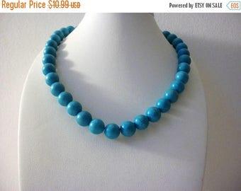 ON SALE Vintage 1950s Blue Pottery Shorter Length Heavier Necklace 51116