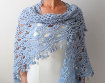 Crochet blue shawl, blue wrap, evening shawl, winter wedding, wedding shawl, lacy wrap, gift for her, fast shipping, ready to ship