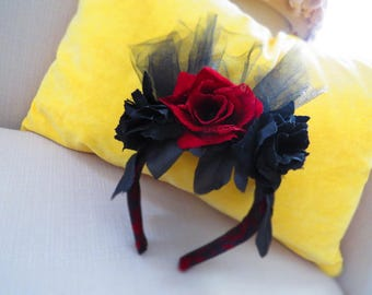 Red and Black Roses Fascinator