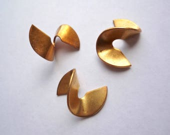 Bronze twist blank shapes, 10 vintage brass twisted forms