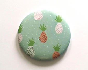 Pineapple green background, Pocket mirror pattern 75 mm Pocket mirror