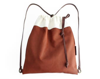Simo BACKPACK, leather backpack, made of aniline leather, canvas and italian leather.