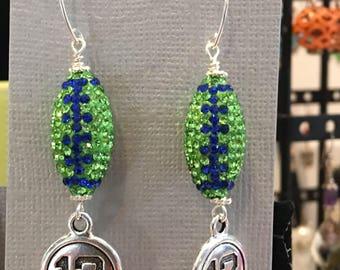 Swarovski crystal Seahawks earrings