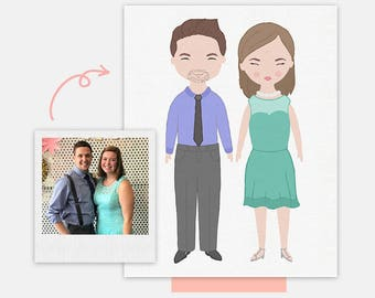 Couple Illustrated Portrait • Custom Portrait From a Photo Personalized Gift Anniversary Gift Wedding Gift Last Minute Gift Printable Print