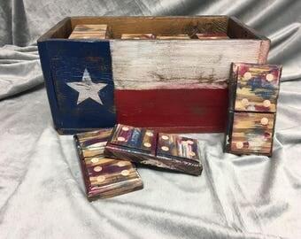 Texas Edition Wooden Domino Set