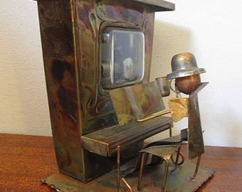 "Vintage 80s Sculpted Copper / Brass Man Playing Piano Music Player ""The Sting"""