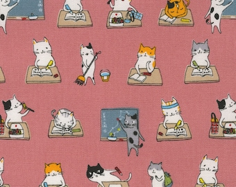 1/2 yard Lecien Japan L Collection Cotton Oxford | 40918-20 Pink | Kitty Cat School Life