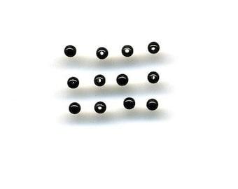 12 onyx beads, 2 mm diameter, 2 holes, black