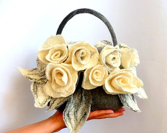 Felt bag, Felted bag, felted handbag, Felt Bags, Grey Bag, Felt Purse, unique flower bag handbag art wet felted bag boho roses,Grey Felt Bag
