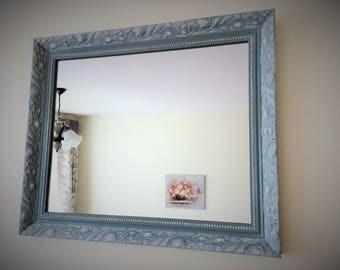 Hand Painted Mirror, Ornate Mirror, Duck Egg Mirror, Hallway Mirror, Fireplace Mirror, Old White, Annie Sloan, Vintage, Mirror, Duck Egg