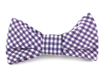 "Gingham dog collar bow tie // purple and white gingham - fits 1/2""-5/8"" collar - small or medium dog - gifts for dog lovers"