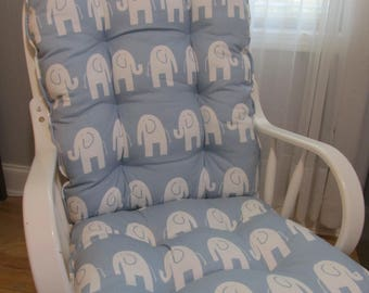 FREE SHIP Glider or Rocking Chair Cushions Set in Weathered Blue with White  Elephants  BabyNursery rocking chair cushion   Etsy. Rocking Chair Cushion Sets For Nursery. Home Design Ideas