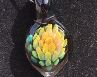 Glass Flower Implosion Pendant