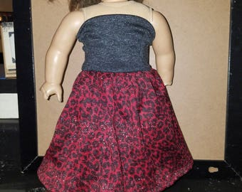 Red leopard doll dress- Fits American Girl- 18 inch dolls- NEW!