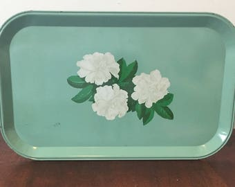 Vintage Metal Tea Trays - with White Gardenia Flower Pattern - Mint Green/ Teal