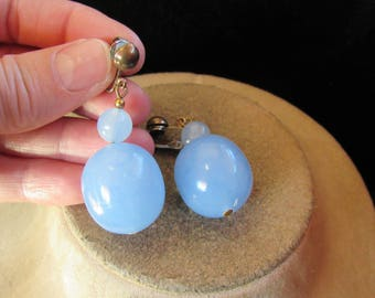 Vintage Pair Of Large Blue Beaded Dangling Clip Earrings