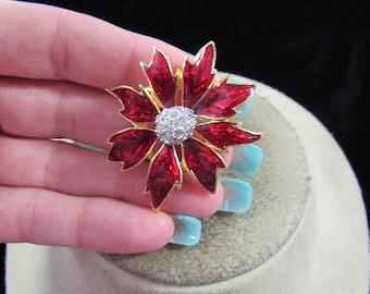 Vintage Red Enameled & Clear Rhinestone Floral Pin