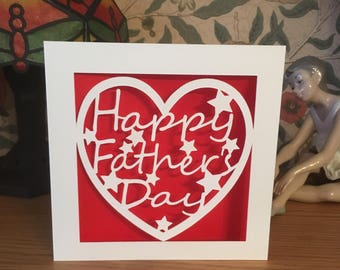 Father's Day Card  - Papercut - Dad - Daddy - Pop - Pops - Pa  - Grandad - Grandpa - Father's Day Heart
