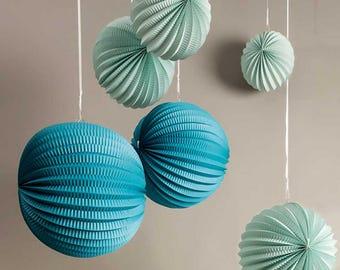 Lanterns in paper - Aqua