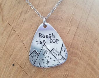 Motivational Necklace.  Necklace for Hikers.  Reach for the Top. Never Give Up.  Fitness Jewelry.  Encouragement Necklace.