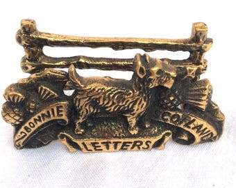 """Brass Letter Rack, Bonnie Scotland, Made in England Circa 1960, Excellent Condition, 3.5"""" x 2"""" x 1.25"""", Solid Aged Brass, Perfect Desk Tidy"""