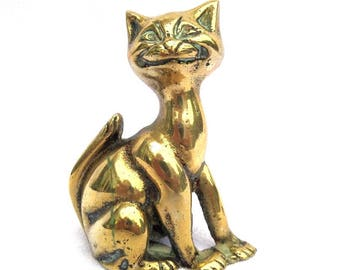 "Brass Cat Candlestick Holder, Peerage England,Mid Century Cheshire Cat Style, Fireside Ornament, 3.25"" x 2.5"" x 2"""