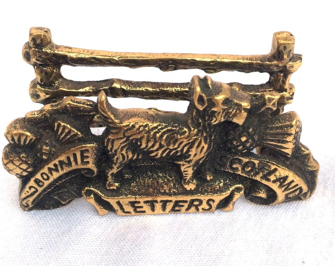 "Brass Letter Rack, Bonnie Scotland, Made in England Circa 1960, Excellent Condition, 3.5"" x 2"" x 1.25"", Solid Aged Brass, Perfect Desk Tidy"