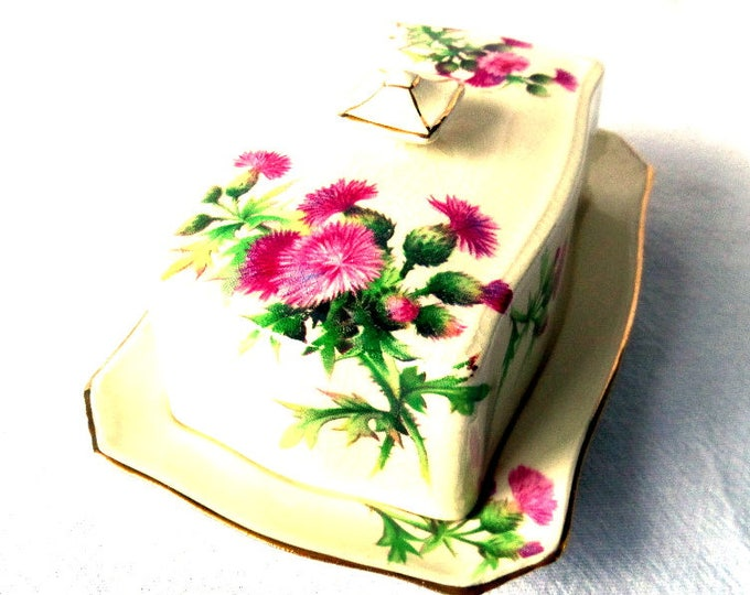 "FREE SHIPPING Royal Winton Butter Dish, Thistle, Grimwades, Gold Gilt, English Porcelain, Rare Immaculate Piece, 6"" x 4.25"" x 2.5"""