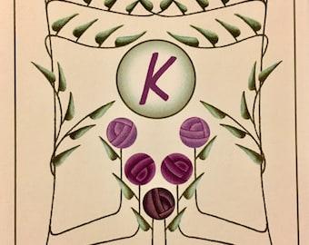 Letter K Monogram Notecards