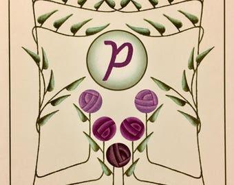 Letter P Monogram Notecards