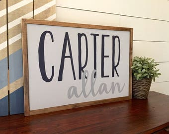 Custom Nursery Child's Name Rustic Wood Sign