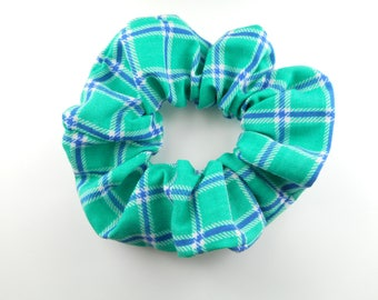 Scrunchie - checkered green and blue plaid