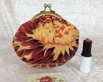 Amy Japanese Chrysanthemums frame coin purse wallet hand stitched Kaffe Fassett Philip Jacobs handmade in England